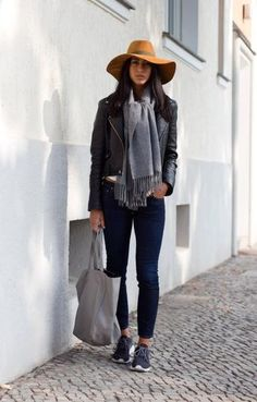 casual winter outfit idea - leather jacket, gray scarf, sneakers + brimmed hat
