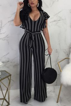 Style:Fashion Pattern Type:Striped Material:Polyester Neckline:scoop neck Sleeve Style:Sleeveless Length:Long Occasion:Cocktail & Party,casual Package Package Include: Jumpsuits Note: There might be difference according to ma. Long Jumpsuits, Jumpsuits For Women, Trend Fashion, Fashion Outfits, Style Fashion, Fashion Pattern, Jumpsuit Outfit, Office Outfits, Work Attire