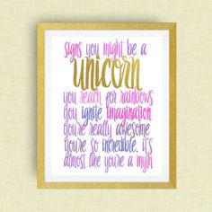 Unicorn Wall Art - Signs You Might be a Unicorn print, option of Gold Foil Print Unicorn Wall Art, Unicorn Rooms, Unicorn Bedroom, Unicorn Print, Unicorn Themed Room, Unicorn Birthday Parties, Unicorn Party, Baby Unicorn, 8th Birthday