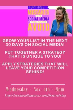 Are You REGISTERED? Join me for a FREE social media masterclass