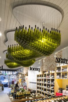 "Wine Republic interior, featuring the amazing ""Wine Cloud"" light sculpture"