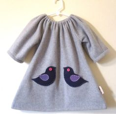 Girl dress Grey fleece ducky dress with little felt by madeinmommy