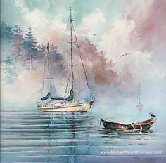 Sailboat Art. Watercolor Painting. Prints. от MichaelDavidSorensen