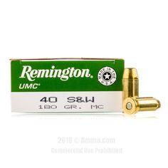 Remington 40 cal Ammo - 50 Rounds of 180 Grain MC Ammunition  #Remington #RemingtonAmmo #40S&Wammo #40SW