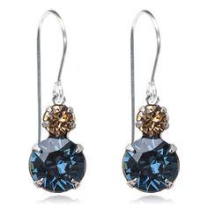 Navy & Gold Two Tier Drop Earrings - $19.80