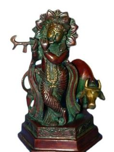 Amazon.com: Religious Statue Krishna Brass Sculpture Playing Flute 7 Inch: Home & Kitchen