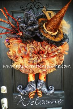 Halloween Spider Witch Wreath Orange and Black by poshcreationsKY, $119.00