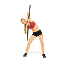 The Supermodel Workout 5 of 12 Hot-Body Bar  Stand with feet wider than hip-width apart. Hold bar with both hands in an overhand grip, palms at center, elbows bent and resting on top of bar, arms parallel to floor. Tilt to right so upper body is parallel to floor (as shown). Return to start. Switch sides; repeat. Continue for 1 minute.