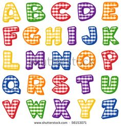 Alphabet: Original letter design in gingham check pattern in red, yellow, blue, orange, green, purple, for scrapbooks, albums, crafts,  back to school projects. EPS8 compatible.