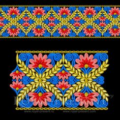 Machine embroidery design Floral Indian Border from ours flower border embroidery designs will easily become an ornament of any of the objects of everyday life. Border Embroidery Designs, Embroidery Shop, Embroidery Motifs, Types Of Embroidery, Machine Embroidery Patterns, Embroidery Files, Textile Patterns, Textile Prints, Print Patterns