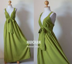 For us girls? Long Olive Green Maxi Dress Elegant V-styled Neck : Love Party Collection. $59.00, via Etsy.