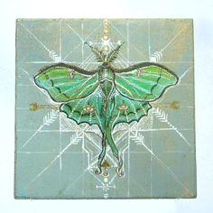 Luna Moth Medicine Painting ~ Original ~ Sacred Geometry ~ Gold Leaf ~ Geometric ~ Animal Totem ~