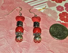 MJ-132; A Pair of Red and Silver Earrings- Red Hearts and Beads with Silver Findings and Beads - Silver French Wire Backs Silver Earrings, Drop Earrings, Red Hearts, Upcycled Crafts, Christmas Goodies, Little Christmas, Craft Items, Pearl White, Mj