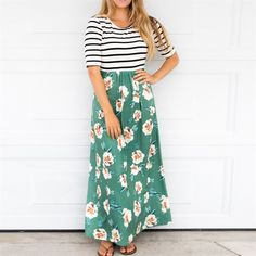 Lighten up your look with this fun and flirty maxi dress. This sleek fashionable dress has the best of both worlds, stripes and floral! Standout but stay comfortable with this soft and fun piece. Model is wearing small. Striped Maxi Dresses, Modest Dresses, Modest Outfits, Floral Maxi Dress, Skirt Outfits, Dress Skirt, Striped Skirt Outfit, Floral Stripe, Ladies Dress Design