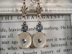 Art Deco Earrings Vintage Glass Earrings Blue Gatsby Earrings