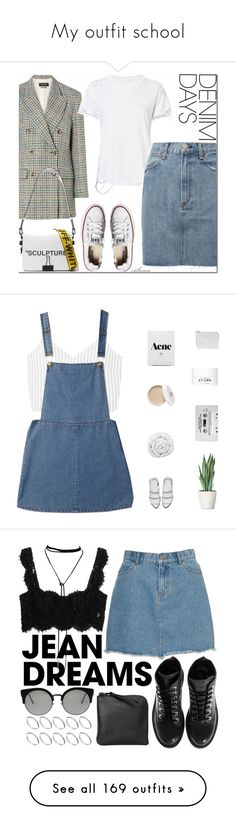 """""""My outfit school"""" by sanrosan ❤ liked on Polyvore featuring Isabel Marant, Intermix, Off-White, Converse, denimskirts, MANGO, Forever 21, Alexander Wang, Brinkhaus and Acne Studios"""