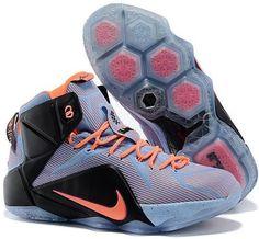 huge discount 140e6 4e31c Nike Lebron 12 Easter Orange Black Blue Jordan Shoes For Women, Cheap  Jordan Shoes,
