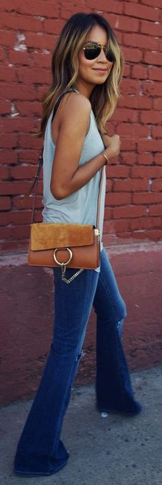 Teal Tank Chloe Suede And Leather Bag High Rise Bell Canyon Flares by Sincerely Jules