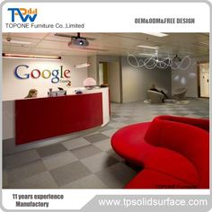 Topone Furniture Co. Reception Desk Design, Reception Counter, Corian Solid Surface, Google Office, Table Desk, Kitchen Countertops, Free Design, Office Desk, Storage Chest
