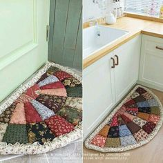 Mesh Retail Rug: 40 Beautiful Models + Step by Step .- Tapete de Retalho de Malha: 40 Modelos Lindos + Passo a Passo mesh retail rug - Patchwork Quilting, Quilts, Patchwork Ideas, Quilting Projects, Sewing Projects, Quilting Ideas, Sewing Hacks, Sewing Crafts, Diy Para A Casa