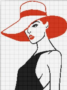 Lady with red hat Cross Stitch Bird, Simple Cross Stitch, Cross Stitch Charts, Cross Stitch Designs, Cross Stitching, Cross Stitch Embroidery, Cross Stitch Patterns, Crochet Angel Pattern, Afghan Crochet Patterns