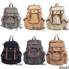 Men's Womens Vintage Canvas Leather Hiking Satchel Backpack Rucksack Bookbag Bag