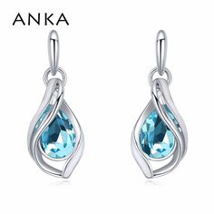 High Quality Ethnic Piercing Earrings Rhodium Plated Gift For Women Crystals from Swarovski #116448