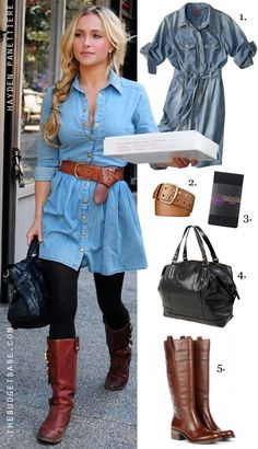 Dress by Number: Hayden Panettiere's Denim Shirt Dress and Tall Boots - The Budget Babe