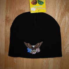 Eagle & Flag embroidered design on a machine knitted hat.