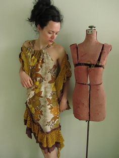 Upcycled Clothing - Golden Brown Floral Print Dress with Tattered Boa - made from repurposed curtains - Womens Upcycled Clothing. $118.00, via Etsy.