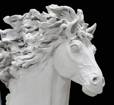 Clay horse sculpture