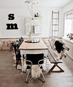 Comedor vintage, nórdico y con un guiño al estilo rústico