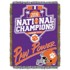"""Clemson Tigers The Northwest Company College Football Playoff 2016 National Champions 46"""" x 60"""" Glorified Woven Blanket"""