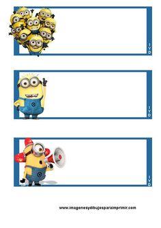 Etiquetas de minions para imprimir ,¿ ya te sabes el nombre de todos los minions? Seguro que sí y ahora en imagenesydibujosparaimprimir.com...