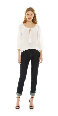 Peasant Blouse in Off White from Joe Fresh