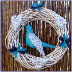 Blue decorative wreath 3 hearts handmade bird