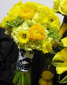 Bridal Bouquet in yellows and greens. Flower Factor