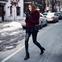 """""""In burgundy fluff and layered with 2 blazers to keep warm, first look from #nyfw❄️ #tsangtastic.com"""""""