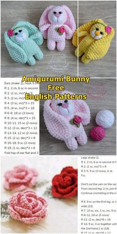 crochet bunny pattern Amigurumi Plush Bunny With Rose Free Crochet Pattern - Amigurumi Crochet - bordeox Easter Crochet Patterns, Crochet Bunny Pattern, Crochet Rabbit, Crochet Amigurumi Free Patterns, Free Crochet, Crochet Baby Toys, Crochet Dolls, Bunny Plush, Crochet Projects
