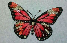 Pink butterfly Kit of initiation to the needle by Fileusedetoiles Butterfly Kit, Madame Butterfly, Butterfly Embroidery, Embroidery Kits, Bugs And Insects, Gold Work, Elsa, Diy Crafts, Quilts