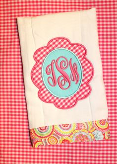 Personalized Monogrammed Burp Cloth  Hot by SweetandSimpleStitch, $11.00