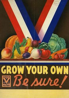 """Two Men and a Little Farm: VINTAGE VICTORY GARDEN POSTER    CIRCA 1945 """"Grow Your Own Be sure!"""""""