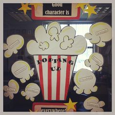 Good Character is Popping Up Everywhere!  This is my window for my Elementary School Counseling Office!  Our back to school night was Hollywood Movie Themed and this is what I came up with by combining lots of pinterest ideas.