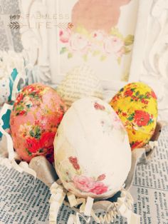 My Fabuless Life: Decoupaged Tissue Easter Eggs