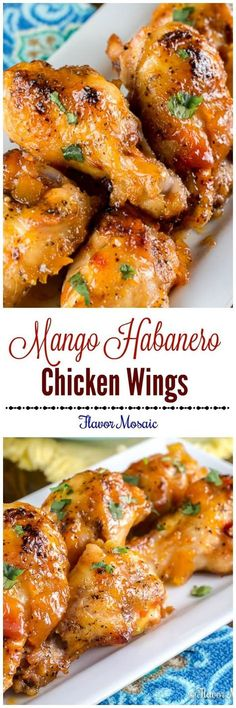 Mango Habanero Wings are sweet and spicy chicken wings with a Mango Habanero glaze made with Mango Habanero Salsa and peach preserves. Serve this appetizer at your next party. via Flavor Mosaic chicken wings recipe Sweet And Spicy Chicken, Chicken Wings Spicy, Chicken Wing Recipes, Chicken Wing Sauces, Fried Chicken, Spicy Wings, Chicken Curry, Chicken Tenders, Frango Chicken