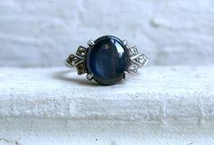 RESERVED - Amazing Deco Platinum Star Sapphire and Diamond Engagement Ring - 3.62ct.. $1,245.00, via Etsy.