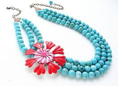 Red statement necklace, Vintage Hot pink and Red Flower Statement Necklace - three strands turquoise, Valentine bold statement necklace