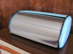 robins egg blue metal bread box from French Toast Kitty on Etsy