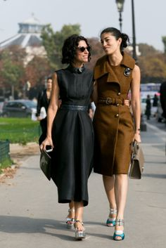 Yasmin Sewell and Caroline Issa nailed the ladylike Parisian dress code.  #PFW #streetstyle - simple and chic