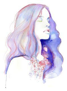 Print of Watercolor Painting, Fashion Illustration. Titled  - Natalia Blue Meditation. $35.00, via Etsy.